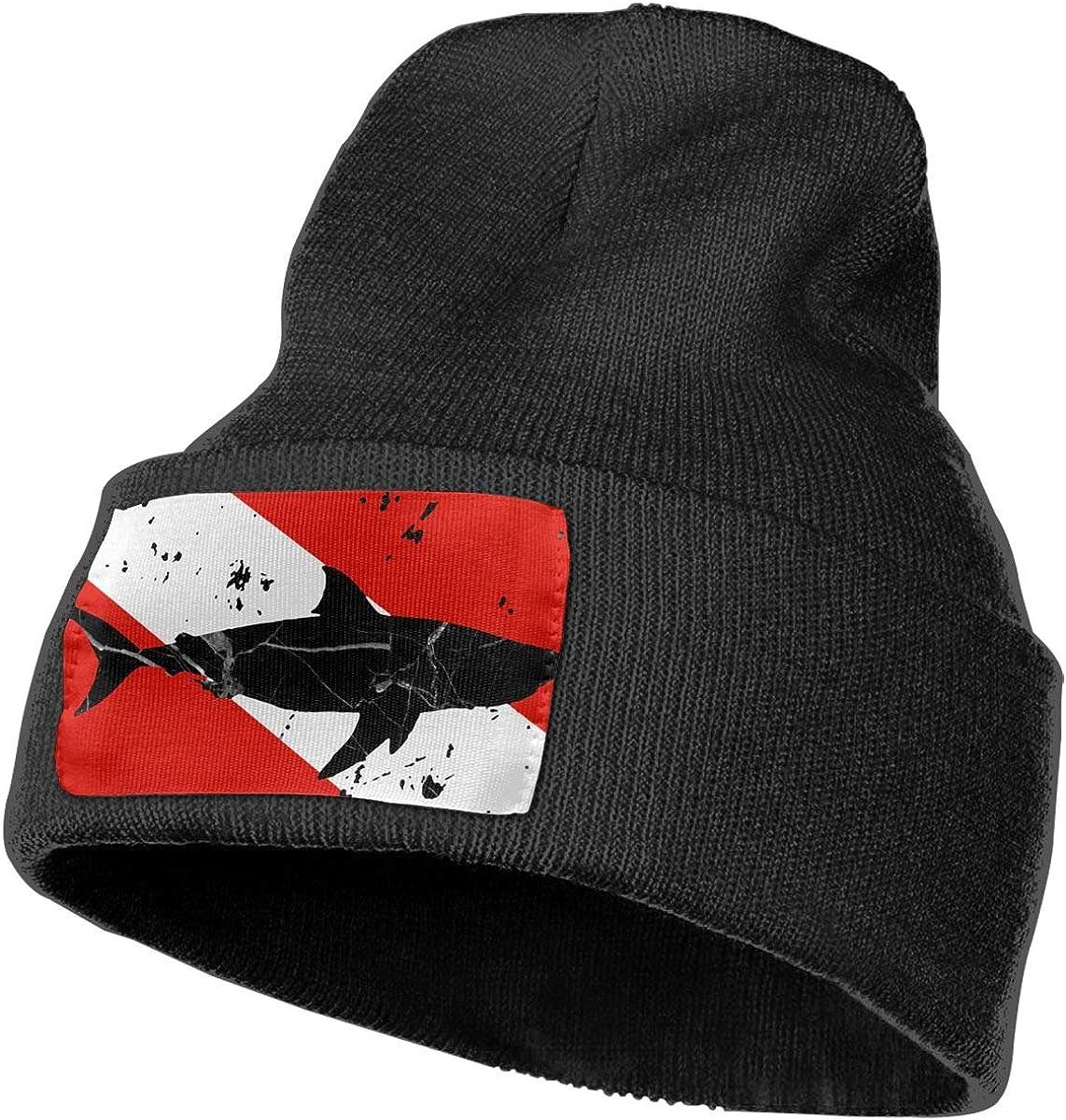 Vintage Shark Scuba Dive Flag Ski Cap Men Women Knit Hats Stretchy & Soft Beanie