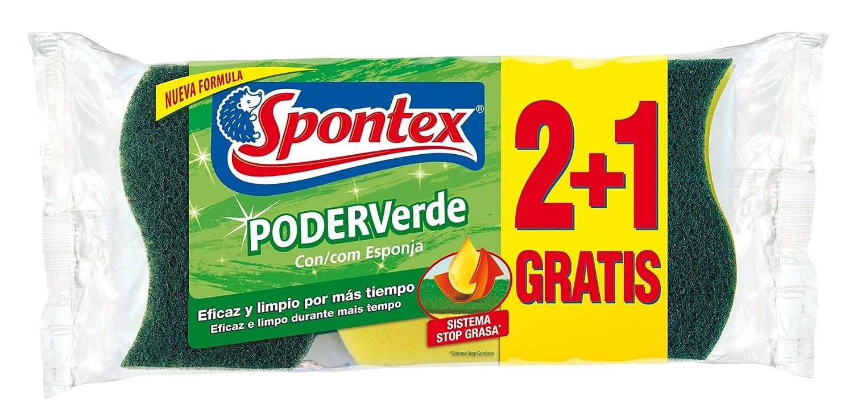 3 Unidades Spontex Poder Verde Con Esponja