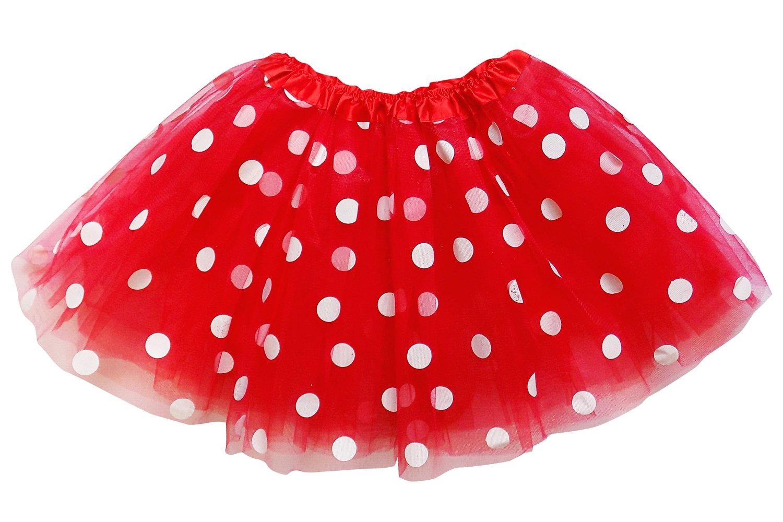 So Sydney Kids, Adult, or Plus Size Polka Dot Tutu Skirt Halloween Costume Dress (L (Adult Size), Red & White Minnie)
