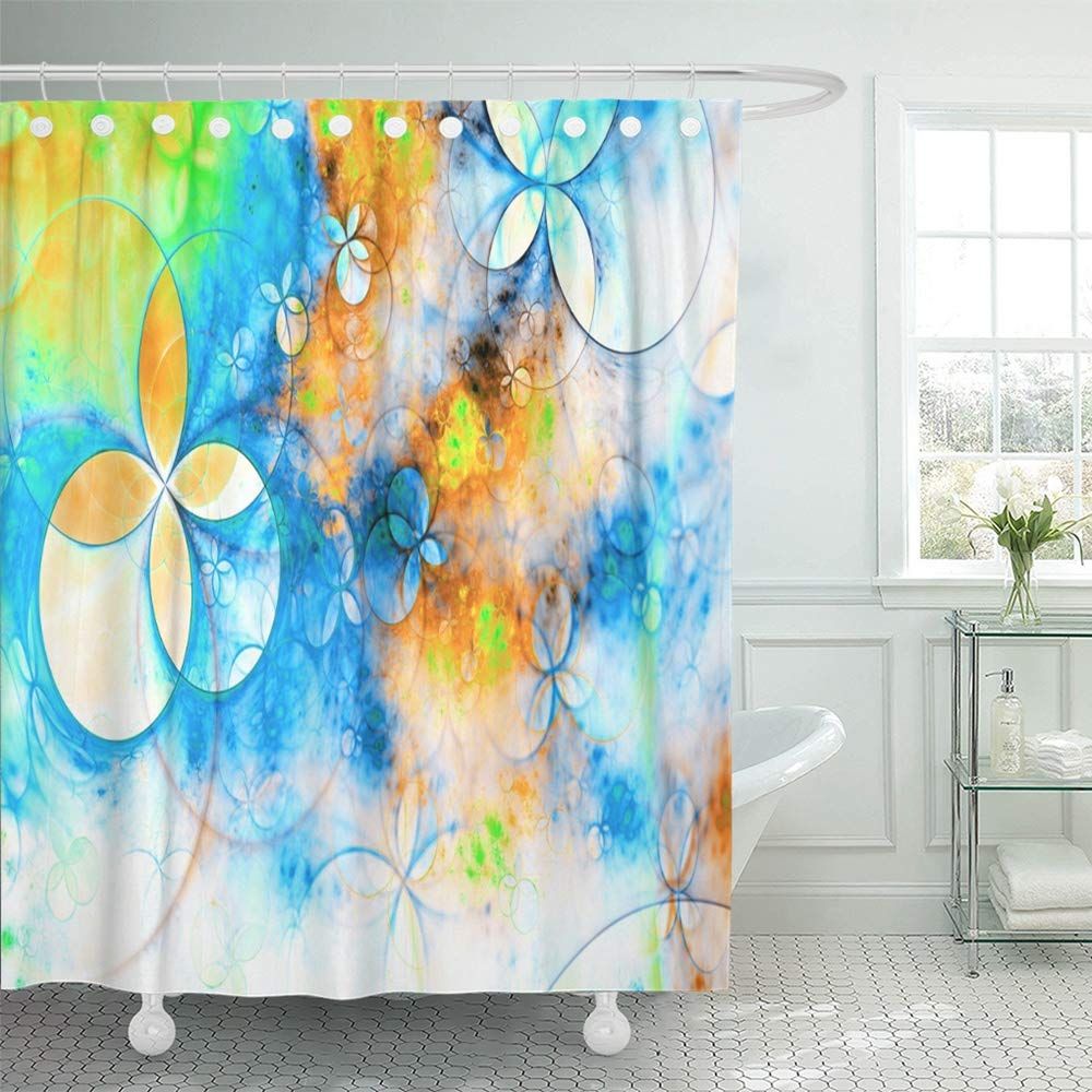 Emvency Shower Curtain Waterproof Polyester Fabric 72 X Inches Abstract Bright Blue Yellow Orange Green And White In High Resolution Set With Hooks