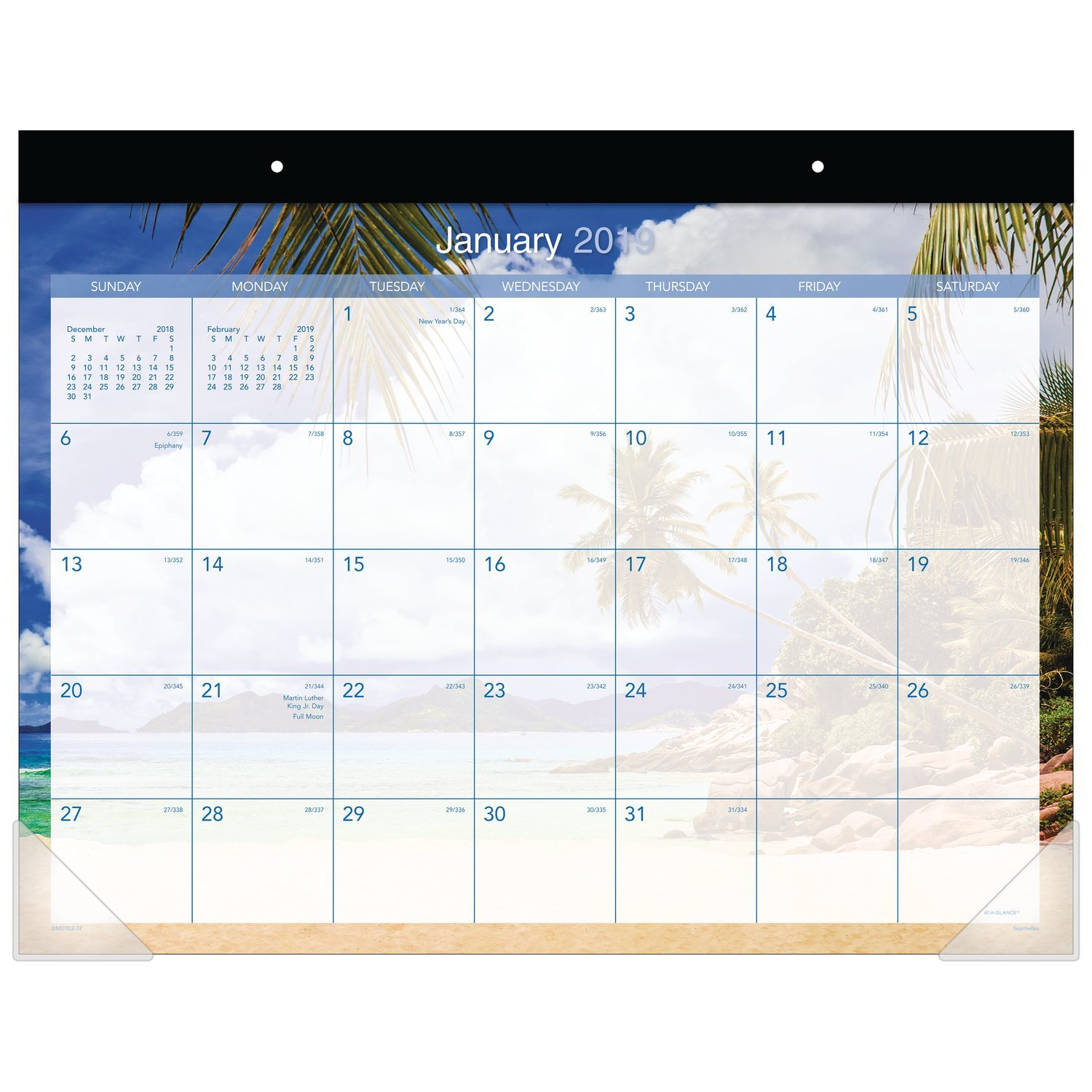 AT-A-GLANCE 2019 Monthly Desk Pad Calendar, 22'' x 17'', Standard, Tropical Escape (DMDTE232)