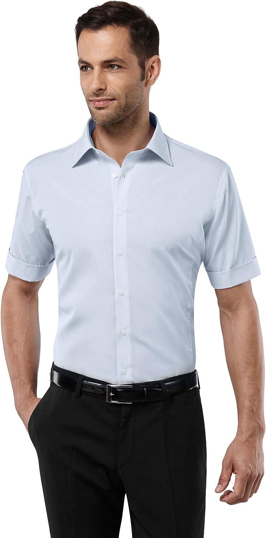 Vincenzo Boretti Camisa de Hombre, Manga-Corta, Ajustada Entallada (Slim-fit), 100% algodón, Cuello Kent, Lisa - no Necesita Plancha: Amazon.es: Ropa y accesorios