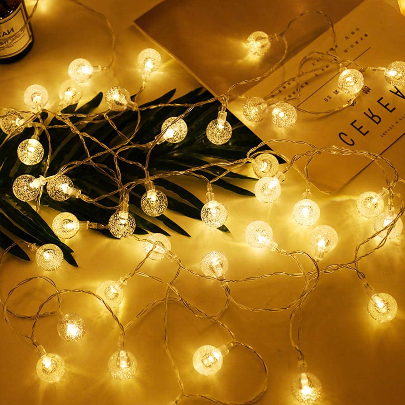 Guirnalda Luces Pilas [2 Pack], Litogo 4m 20 LED Bola de Cristal Luces LED Pilas, Guirnalda Bombillas Cadena de Luces Decoracion para Navidad Terraza Hogar Jardín Arboles Patio Bodas Fiesta Interior: Amazon.es: