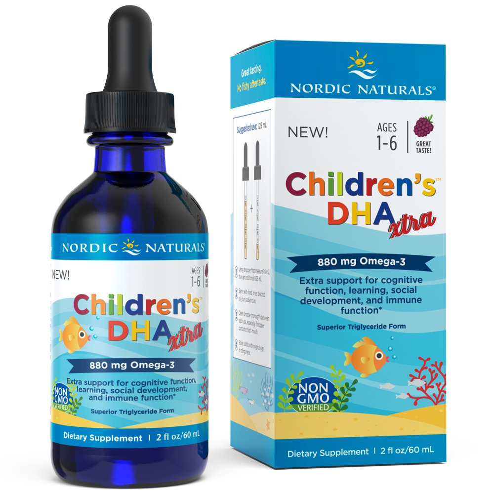 Nordic Naturals Children's DHA Xtra - Berry Flavored Fish Oil Supplement Rich in Omega 3s, 2 Times DHA to EPA, for Kid's Cognitive Development, Learning, Heart Health and Mood Support, 2 Ounce