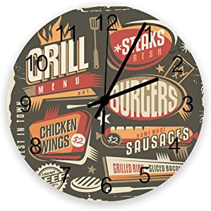 Analog Clock Small Digital Wall Wood Modern Alarm Clock Silent Non Ticking Battery Operate,Restaurant Poster Food Barbecue Menu with Vintage Style Smart Gear Round 12 Inch Wall Clock for Bedroom
