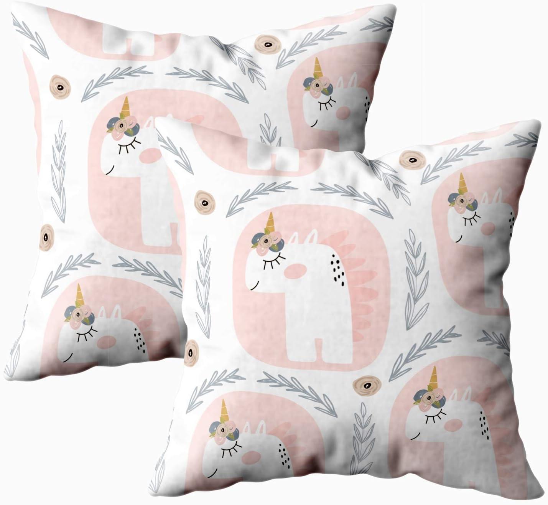 Funda de Almohada, 2 Paquetes de Fundas de Almohada, Douecilsh Cojín Suave para el hogar Sofá Decorativo Patrón Lindo Hada Unicornios Textura Infantil Tela Textil Estilo escandinavo Doble impresión