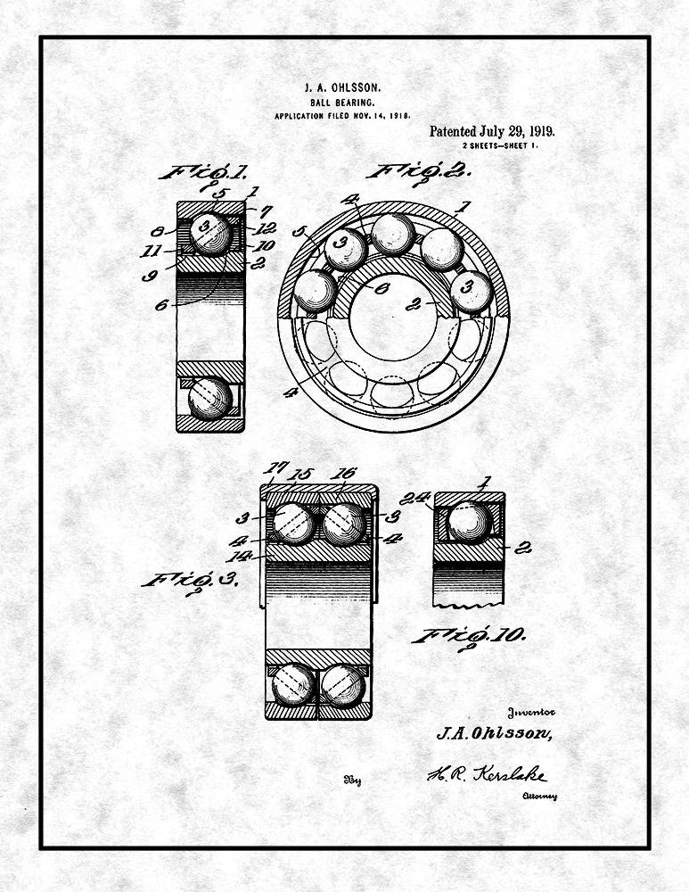 Amazon Com Ball Bearing Patent Print Blueprint With Border 24 X