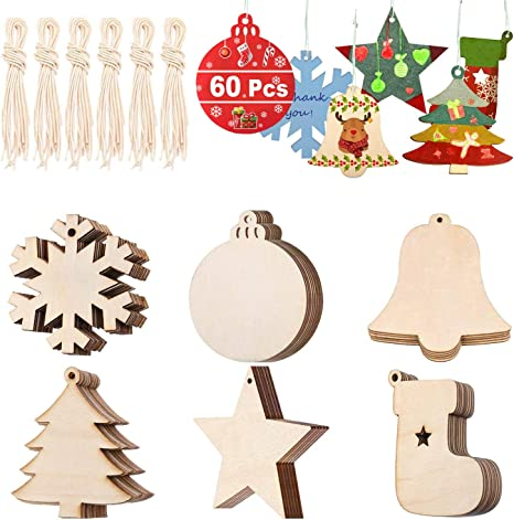 Mixed Wooden Ornaments Wooden Tags Disc Xmas Tree Embellishments with String
