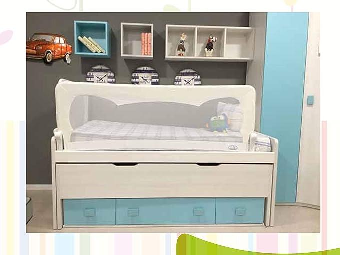 Barrera de cama para bebé, 150 x 65 cm. Modelo gris. Barrera de seguridad.