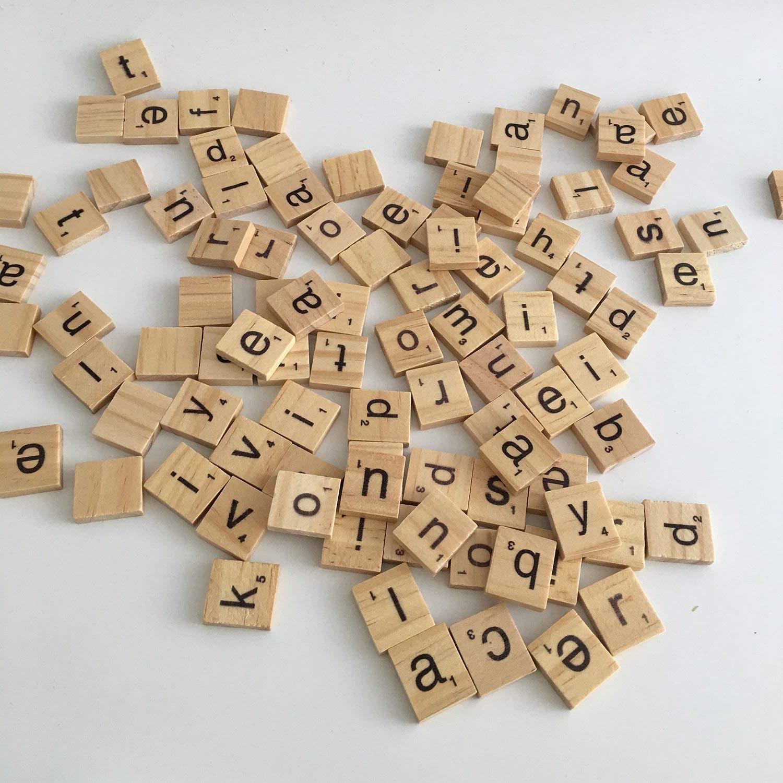 JVSISM 100 in Legno Alfabeto Scrabble Piastrelle Nero Lettere e Numeri per Artigianato in Legno