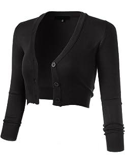 f06fe6da73ab69 FLORIA Women's Solid Button Down 3/4 Sleeve Cropped Bolero Cardigan ...
