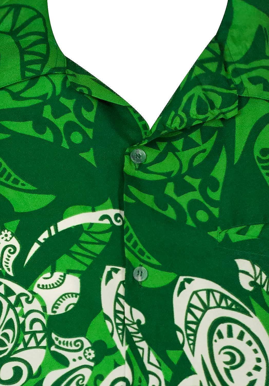 King Kameha Hawaiian Shirt for Men Funky Casual Button Down Very Loud Shortsleeve Unisex Maori Chest Print
