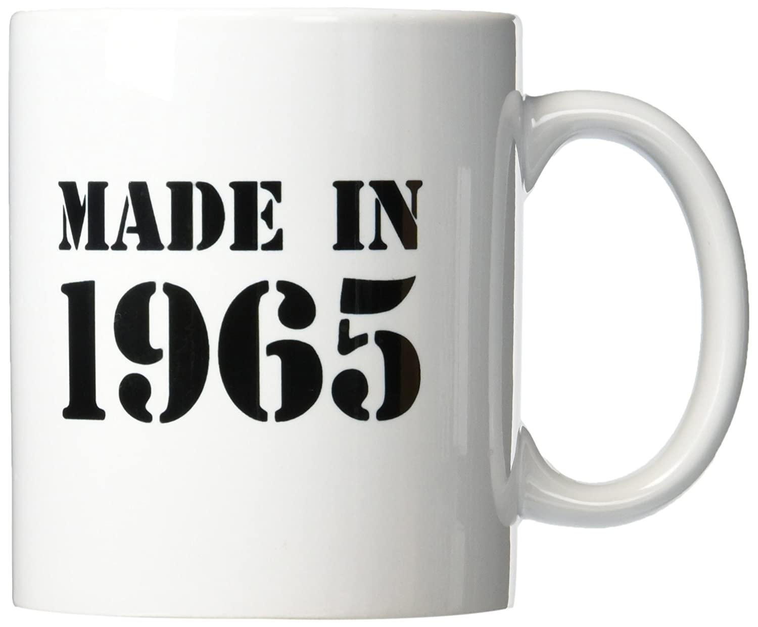 3dRose mug/_162731/_1 Made in 1965 Funny Birthday Birth Year Text Fun Black Bday Stamp with Year You Were Born Humor Ceramic Mug 11-Ounce
