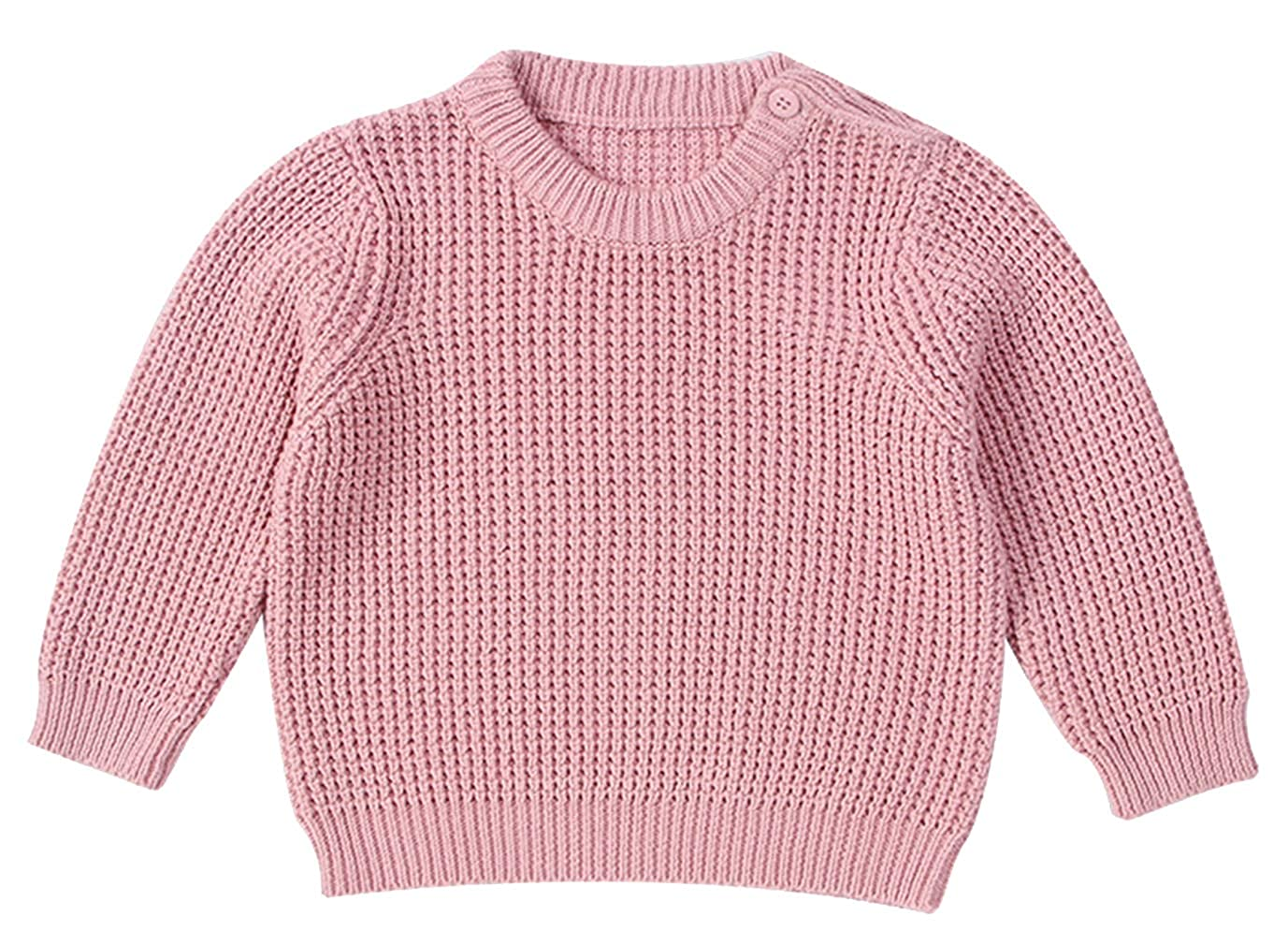 La Vogue Unisex Toddlers Hand-Knitted Long Sleeve Pullover Knitwear Autumn Winter Solid Knitted Jumper Sweater