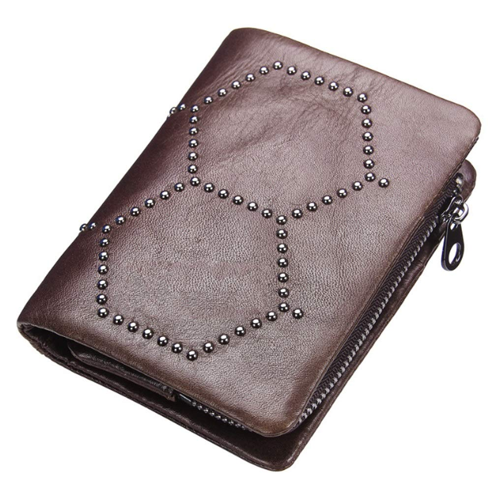 Color : Brass, Size : S Elegdy Mens Wallet Leather Removable Coin Purse Clutch Bag Studded Bag Card Bag Fashion