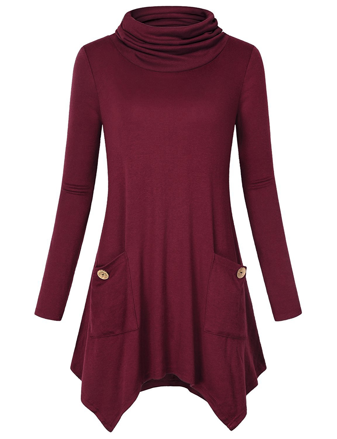 Anna Smith Pocket Tunic Tops, Womens Turtleneck Asymmetric Hem Long Sleeve A-line Flared Loose Fit Plain T Shirt Knit Pullover Stylish Pleated Trapeze Blouses for Leggings Wine XX-Large