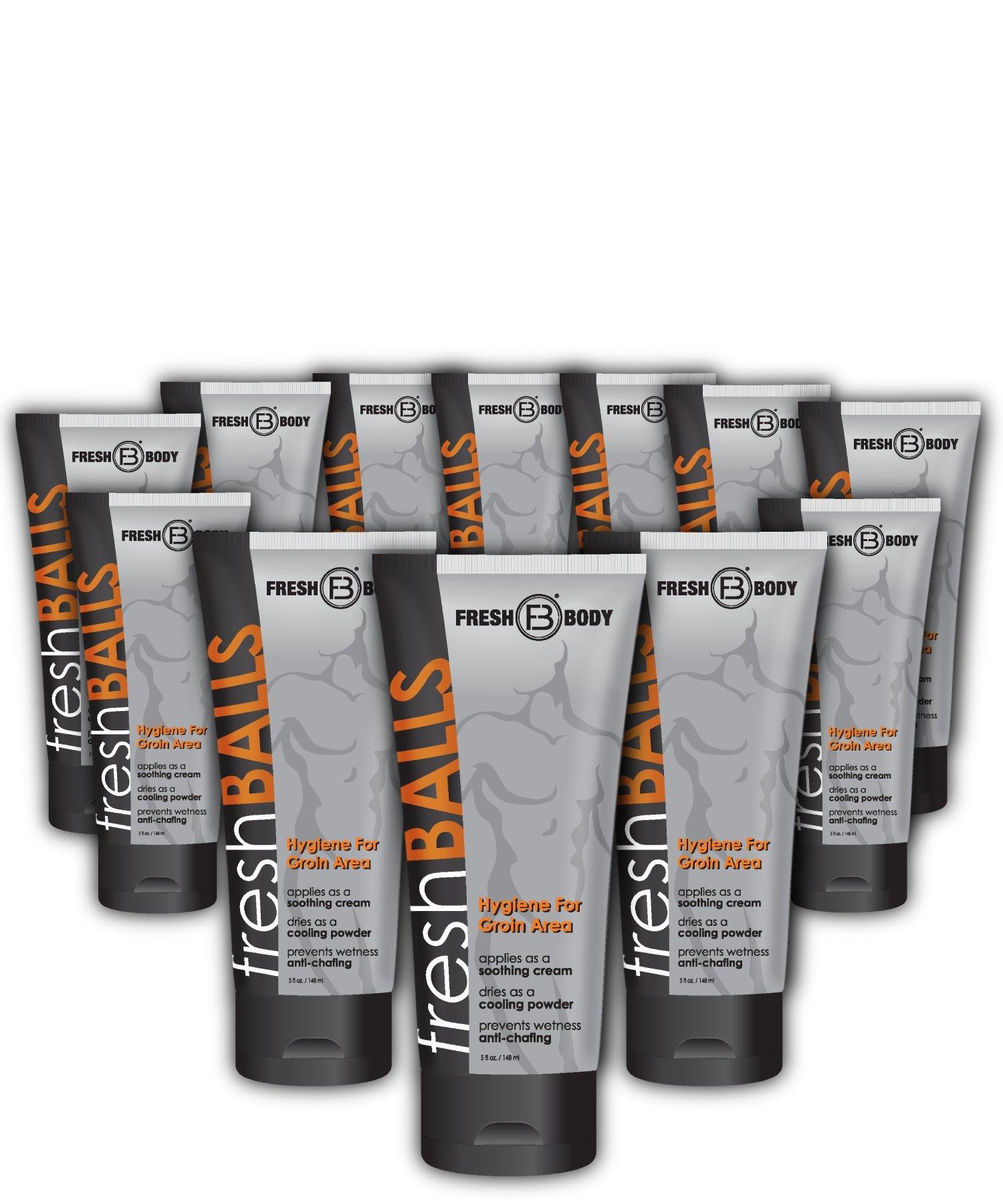FRESH BALLS Special 12 PACK Male Hygiene Antiperspirant Lotion 3.4 oz by Fresh Body FB