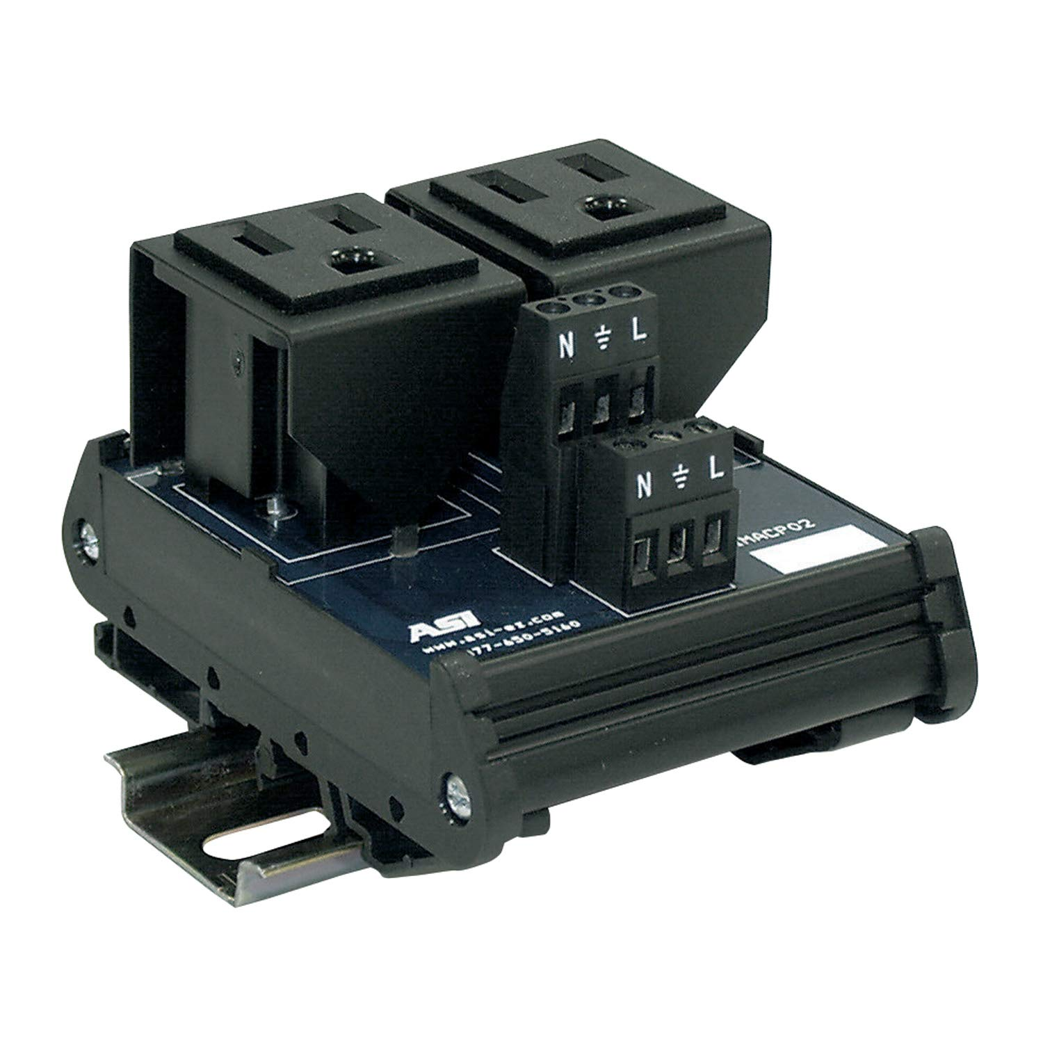 ASI IMACP02 Duplex Three Prong Modular Outlet, AC Receptacle, Din Rail Outlet