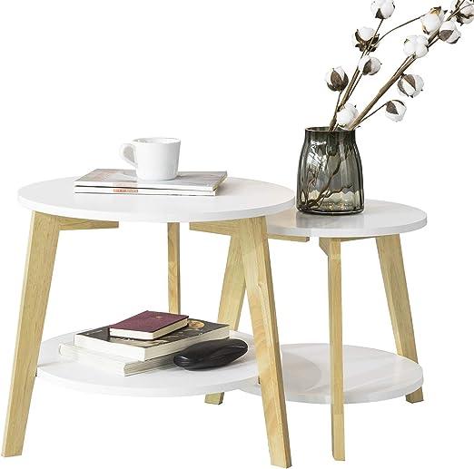 SoBuy FBT75-W Mesa de café Set 2 Mesas auxiliares Color Blanco ES ...