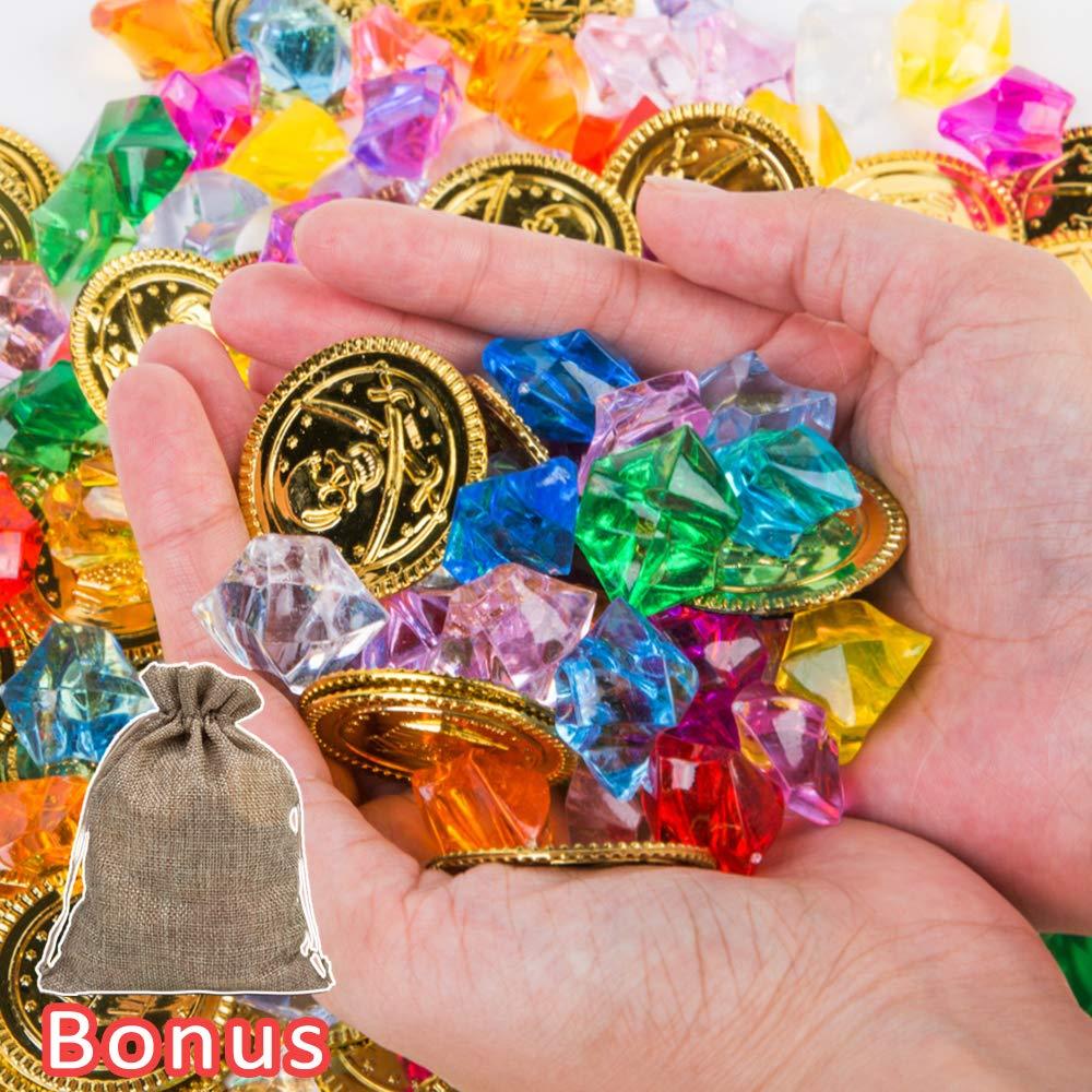 Amazon.com: PROLOSO - Piedras de oro pirata, gemas de tesoro ...