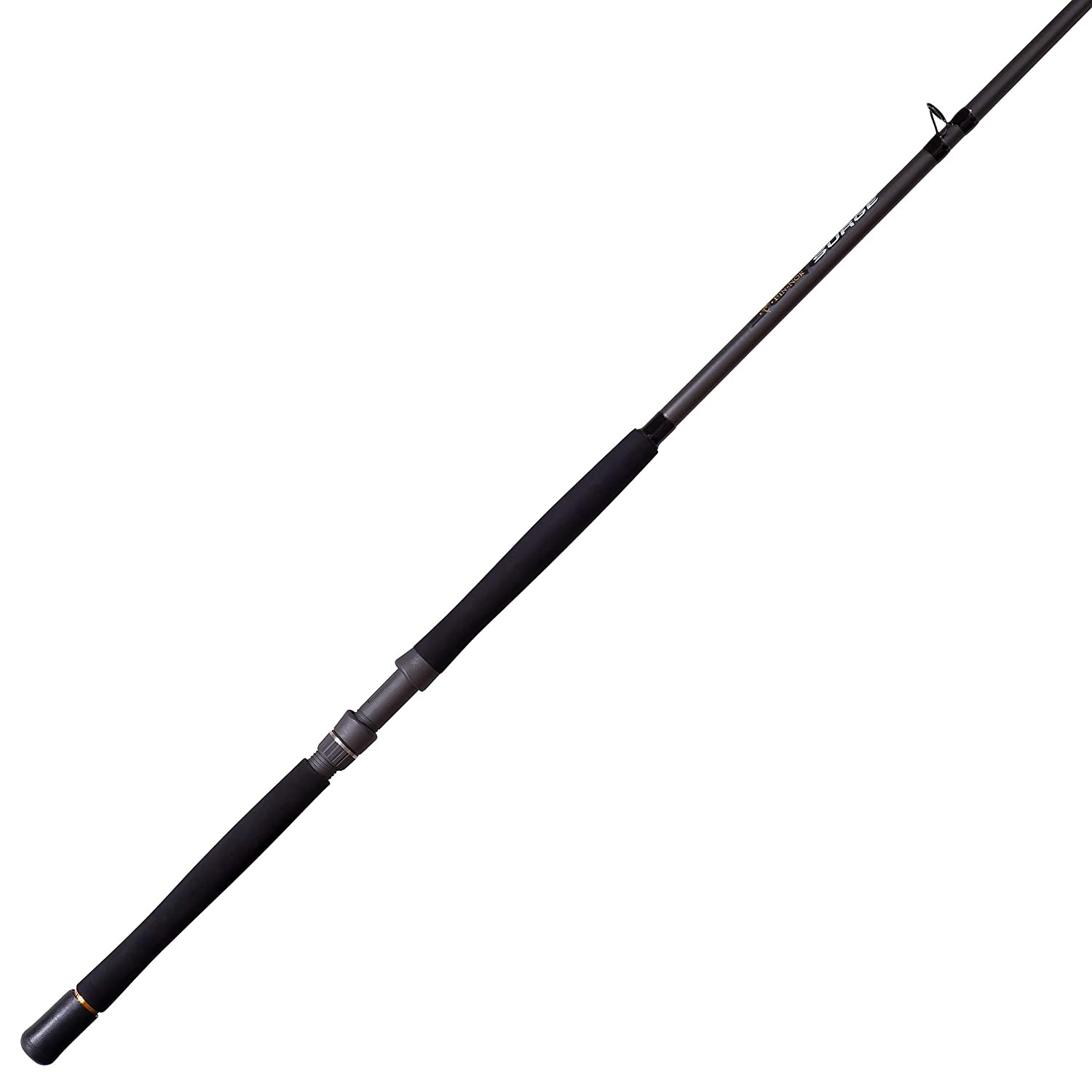 Fin-Nor Surge Spinning Fishing Rod, E-Glass and Graphite Rod with Double-Footed Aluminum Oxide Guides, 7-Foot 30-Pound Moderate Action, Contoured EVA Handle