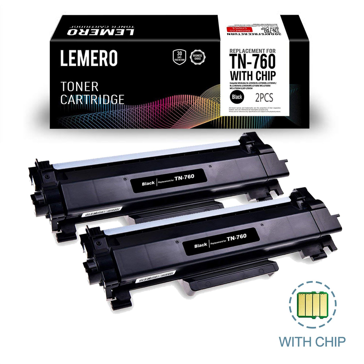 LEMERO (WITH IC CHIP) Compatible Brother TN760 TN730 High Yield Black Toner Cartridge - for Brother HL-L2350DW HL-L2395DW DCP-L2550DW MFC-L2710DW MFC-L2750DW, 2 Pack