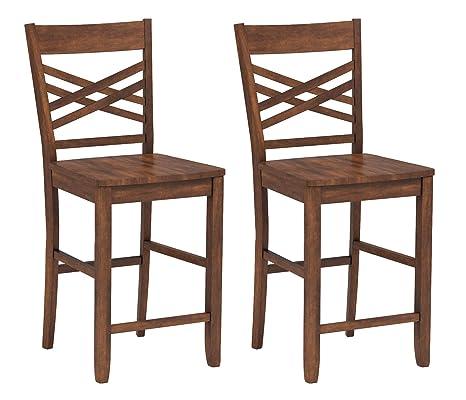 Superb Ravenna Home Luna Rustic Wood Counter Stool 40 5H Walnut Set Of 2 Pdpeps Interior Chair Design Pdpepsorg