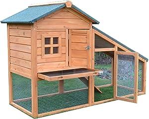 FeelGoodUK Conejito Arca Conejera Guinea Pig Pen Casa Jaula con Construido en Ejecutar - Bunny Ark