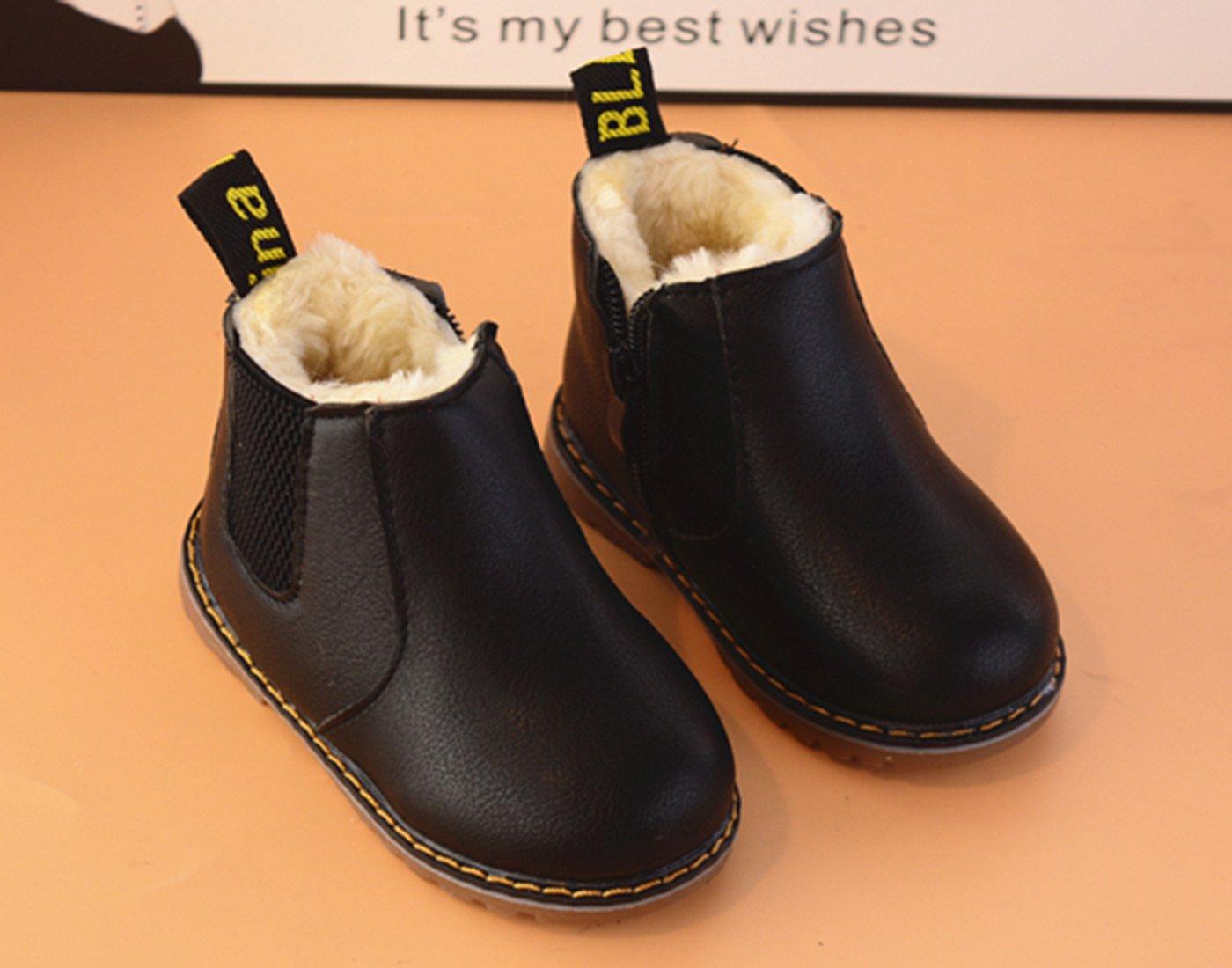 Boys Girls Cute Design Boot Anti Slip PU Leather Ankle Biker Boots Short Martin Booties Low Heels Black Size 6 M