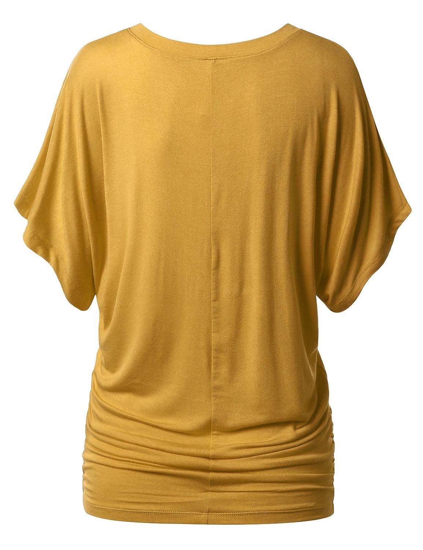 09b3b47e95c URBANCLEO Womens Short Sleeve Dolman Drape Top Shirts  (Plus