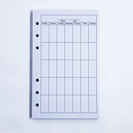 AmazonCom  Refillable Blank Calendar Template  Notebooks Diaries