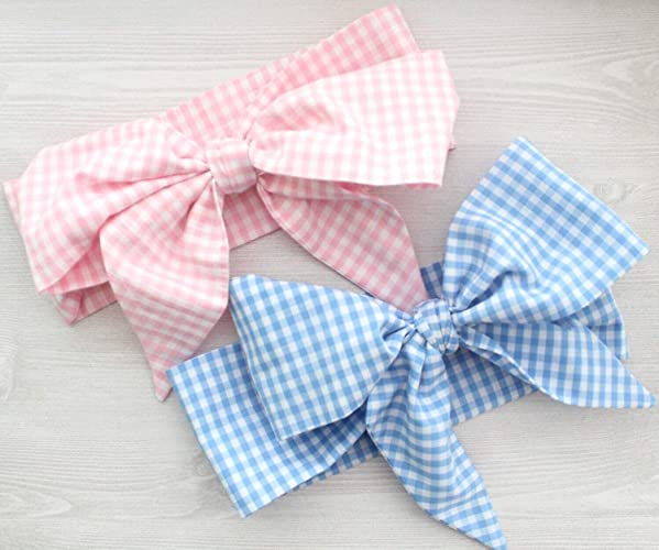 Amazon com: Pink or Blue Gingham Picnic Plaid Summer Fabric Headwrap
