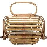 Miuco Women Bamboo Bag Handmade Basket Nest Large Bag Hollow Tote Lantern Beach Bag