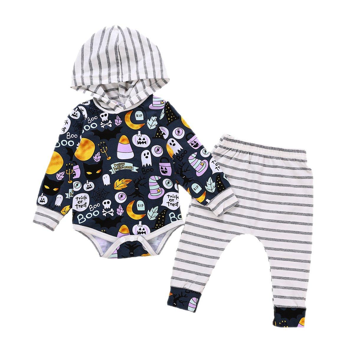 854a25371e62 GRNSHTS Baby Boys Halloween Pants Set Ghost Print Long Sleeve Hooded Romper  + Striped Pants Sets (Blue White