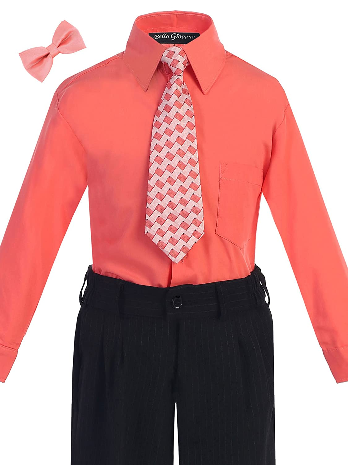 Bello Giovane Boys Coral Dress Shirt with Tie Set (Free Bow Tie)