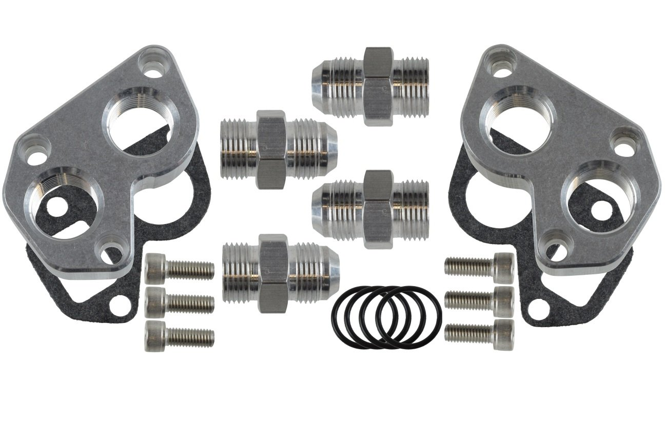 12AN Fittings ICT Billet LSX 551564 Remote Mount Water Pump Adapters w//