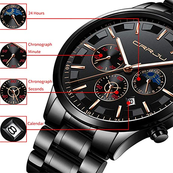 Amazon.com: Business Watches for Men, DYTA Six Pin Multi Function Luxury Watches with Stainless Steel Case Alloy Strap Under 30M Water Resistant Analog ...