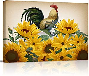 zzsunfeel Canvas Oil Painting Rooster Sunflower Bathtub Wall Art Picture Prints for Living Room Home Decor, Ready to Hang Vintage - 12x16 inches
