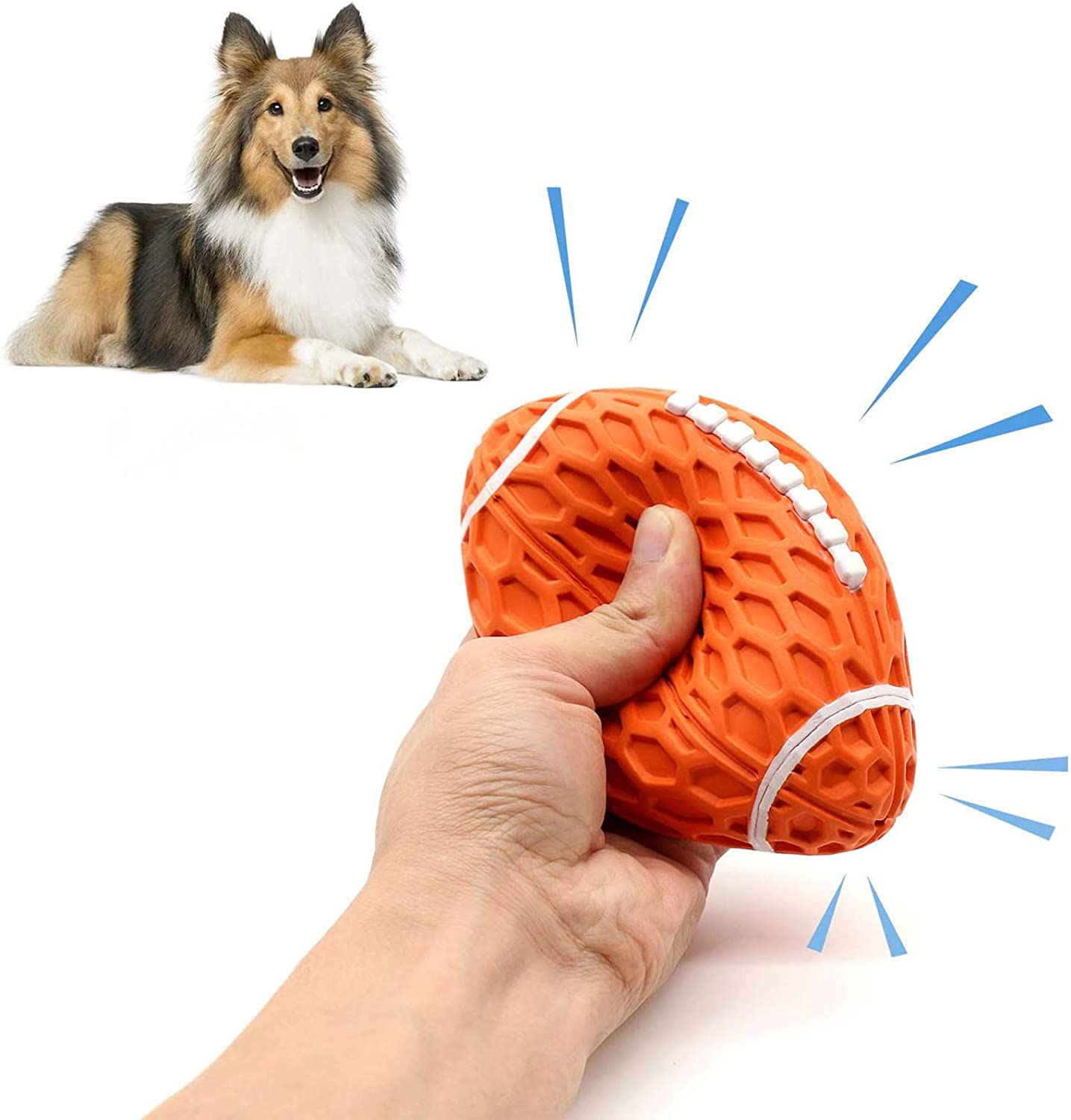 Squeaky Dog Toys for Aggressive Chewers,Interactive Puppy Toys Ball with Squeaker, Almost Indestructible and Durable Pet Chew Toy for Medium and Large Breed