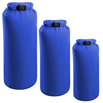 fc99f6aae3df 3 Pack Camping Dry Sacks Waterproof Weather Resistant Ultra Lightweight  Roll Top Compression Kayak Hiking Bag 2 4 8L - Royal Blue  Amazon.co.uk   Luggage