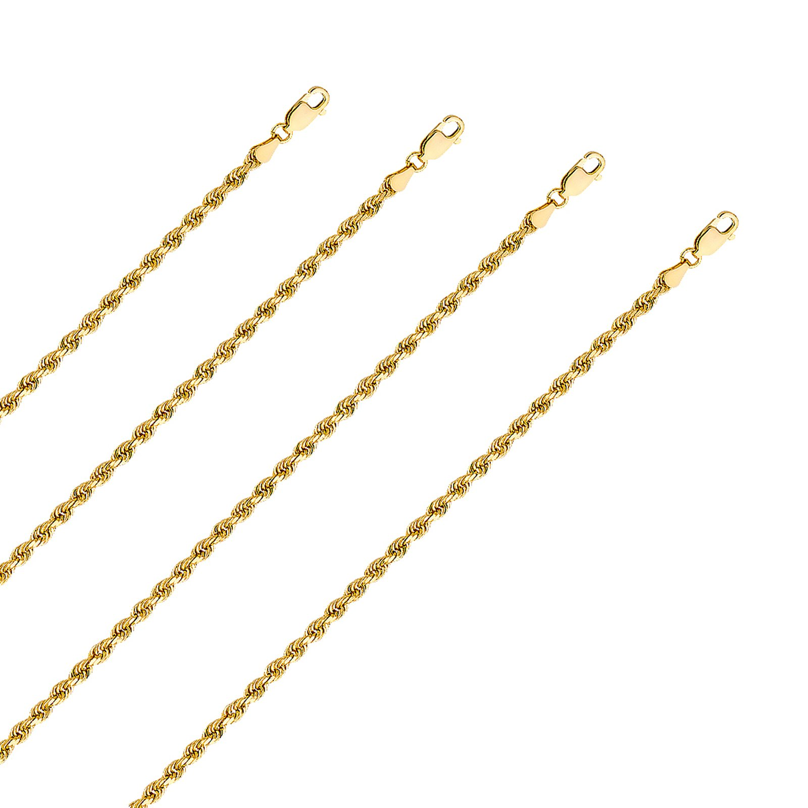 14k Yellow Gold 3 mm Solid Rope Diamond Cut Chain with Lobster Clasp (20 Inches)