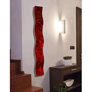 """Red 3D Abstract Metal Wall Art Sculpture Wave - Modern Home Décor by Jon Allen - 46.5"""" x 6"""""""