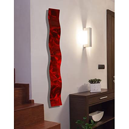 Amazon Red 3D Abstract Metal Wall Art Sculpture Wave