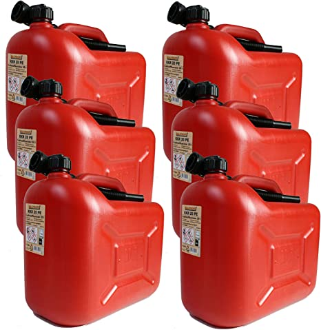 Bauprofi 6er Set 6x Benzinkanister Kkr 20 Pe 20 Liter Rot Reservekanister Auto