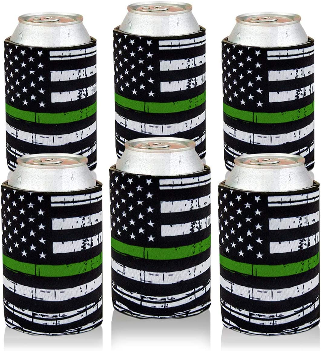 Can Cooler Sleeves USA Thin Green Line Flag Can Coozies Drink Beer Can Insulator Covers Collapsible Can Wraps 6Pc