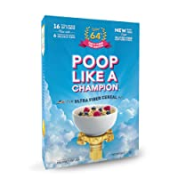 Poop Like A Champion® High Fiber Cereal, Low Carb, Keto Friendly, Clean Label, Gluten Free Cereal - 0% Gluten, 9g Net Carbs, 16g Fiber per bowl - NO Wheat CLEAN LABEL PRODUCT!