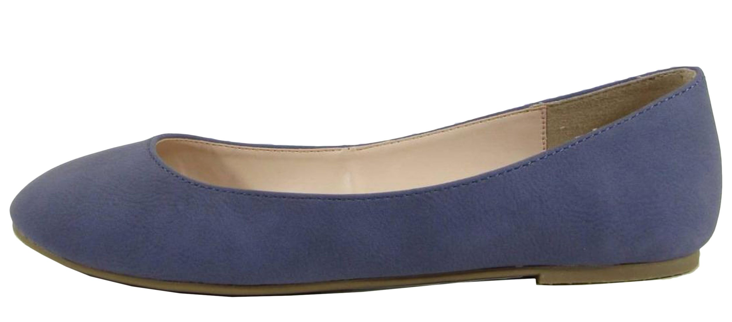 City Classified Women's Thesis Classic Round Toe Ballet Flats (7 B(M) US, Blue Nubuck)