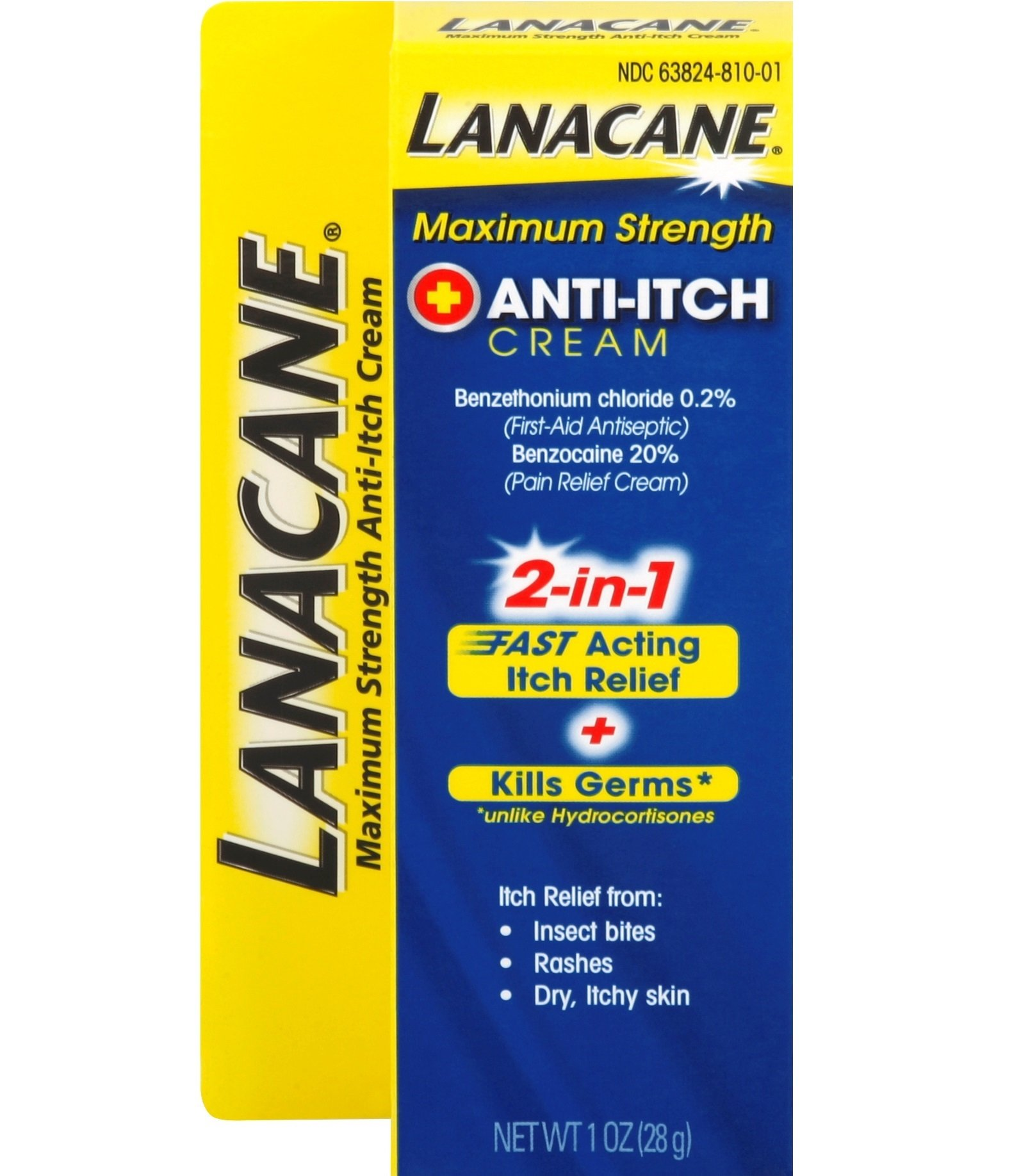 Lanacane Maximum Strength Anti-itch Cream, 1 oz, 2in1 Fast Acting Itch Relief and Kills Germs
