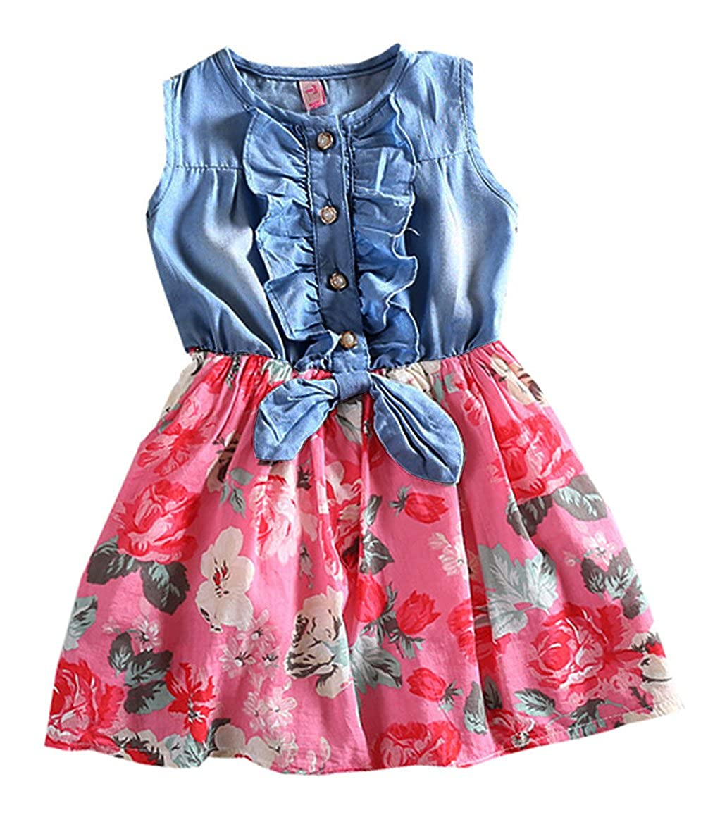 Niyage Girls Princess Dress Denim Tops Floral Tutu Skirts (Sleeveless/Long Sleeve)
