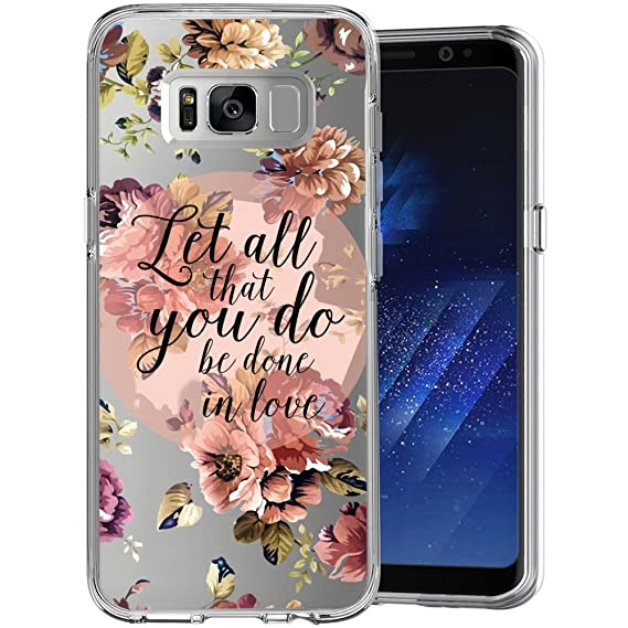 new style fd26d 22922 Christian Quotes Bible Verse Clear Phone Case for Samsung Galaxy S8 Plus  Customized Design by MERVELLE TPU Clear Shock-Proof Protective Case [Ultra  ...